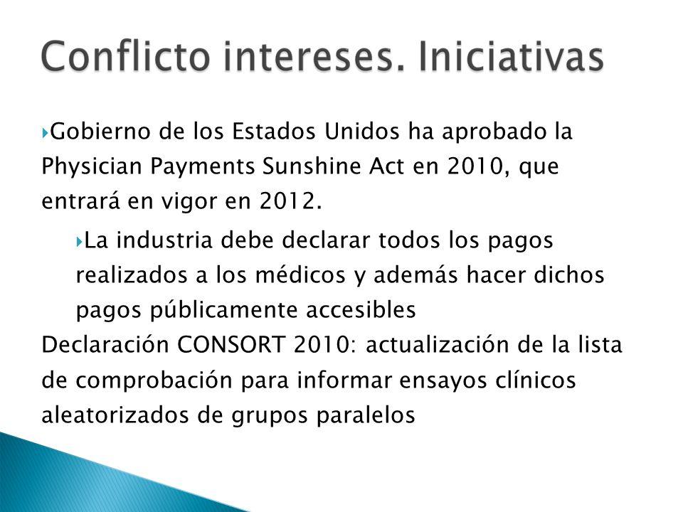 Gobierno de los Estados Unidos ha aprobado la Physician Payments Sunshine Act en 2010, que entrará en vigor en 2012.