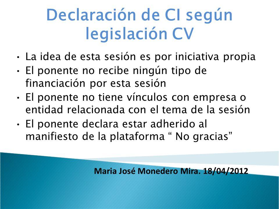 Declaración de CI según legislación CV