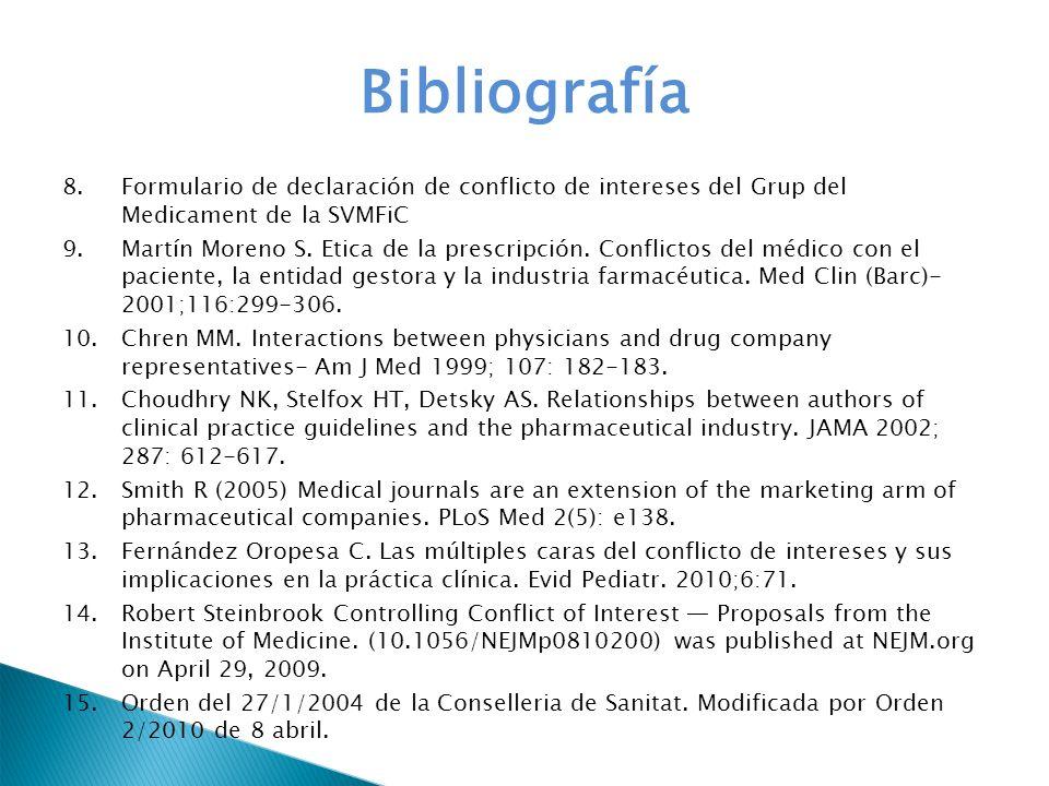Bibliografía Formulario de declaración de conflicto de intereses del Grup del Medicament de la SVMFiC.