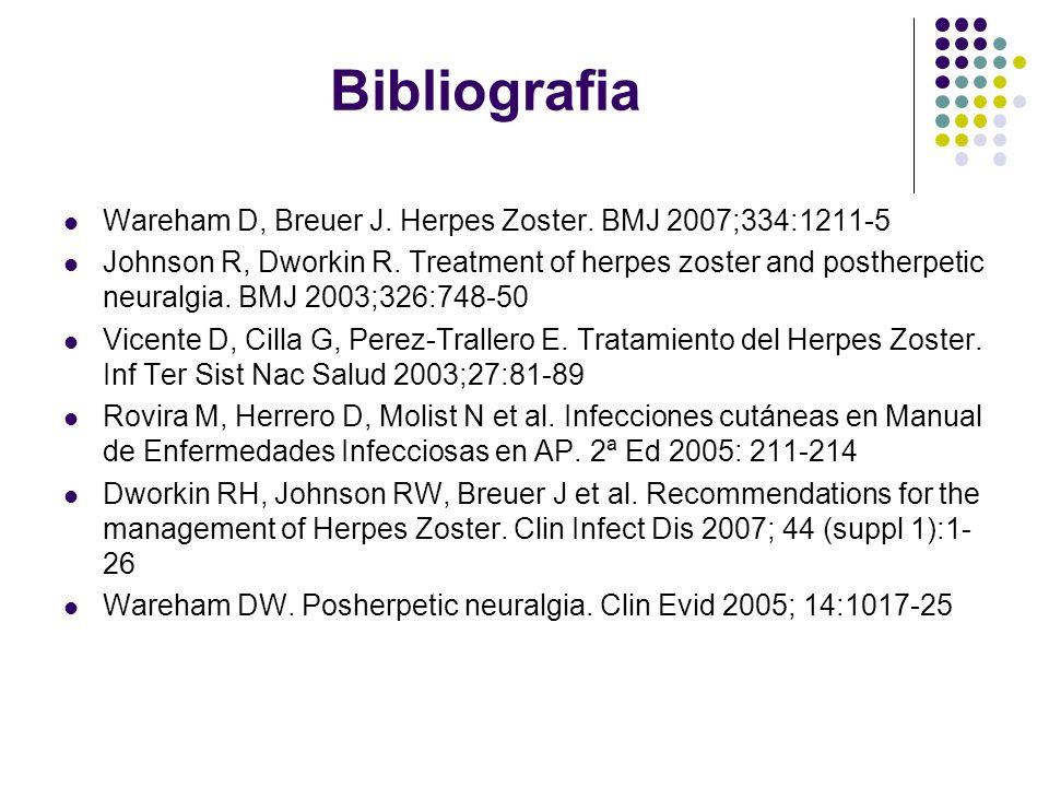 Bibliografia Wareham D, Breuer J. Herpes Zoster. BMJ 2007;334:1211-5