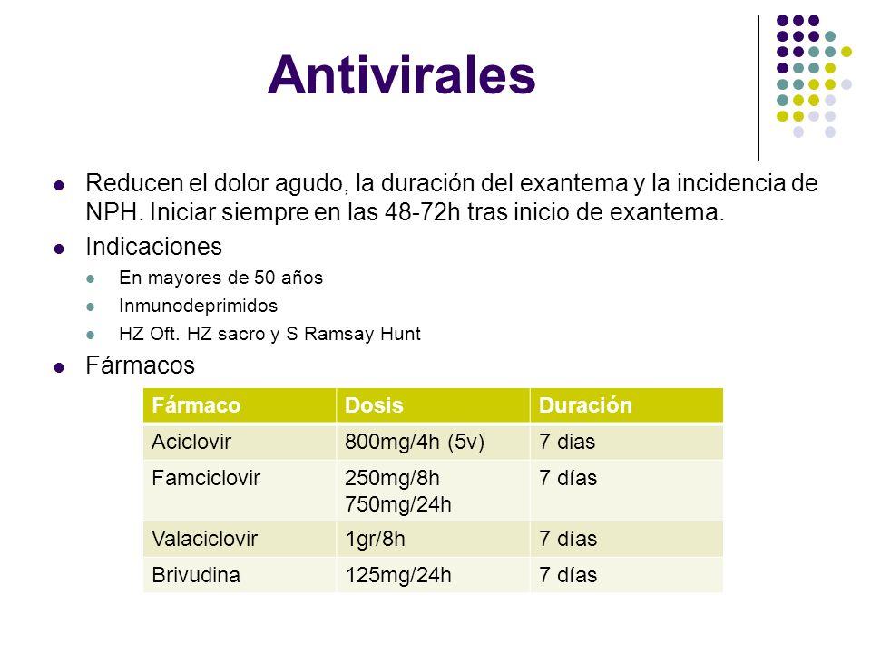 AntiviralesReducen el dolor agudo, la duración del exantema y la incidencia de NPH. Iniciar siempre en las 48-72h tras inicio de exantema.