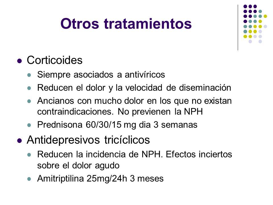Otros tratamientos Corticoides Antidepresivos tricíclicos
