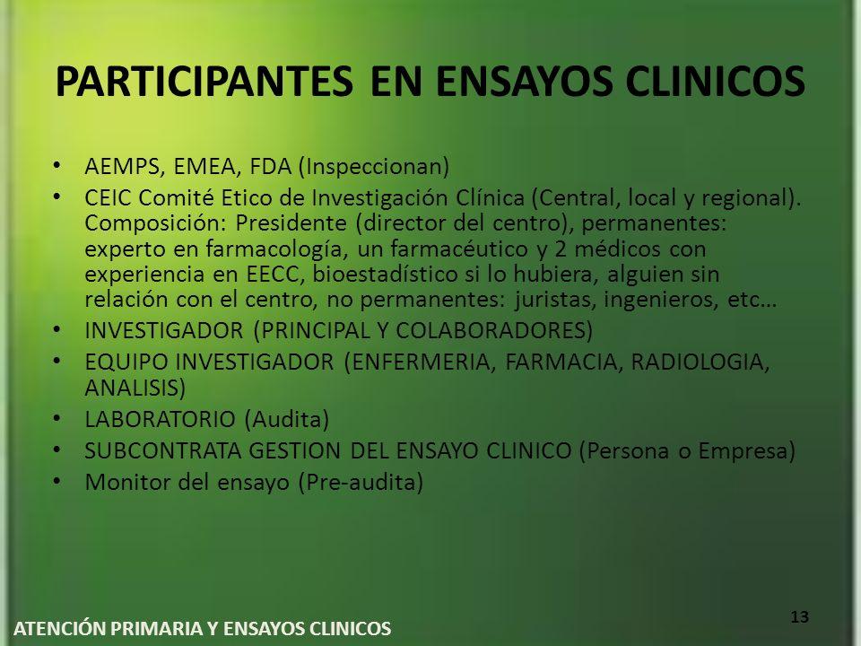 PARTICIPANTES EN ENSAYOS CLINICOS