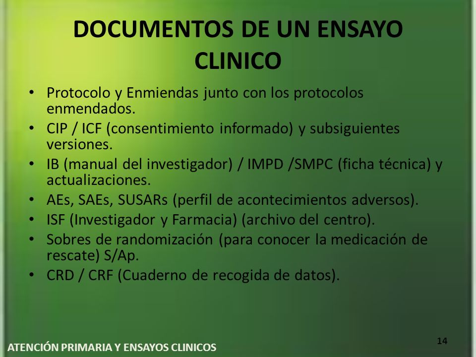 DOCUMENTOS DE UN ENSAYO CLINICO