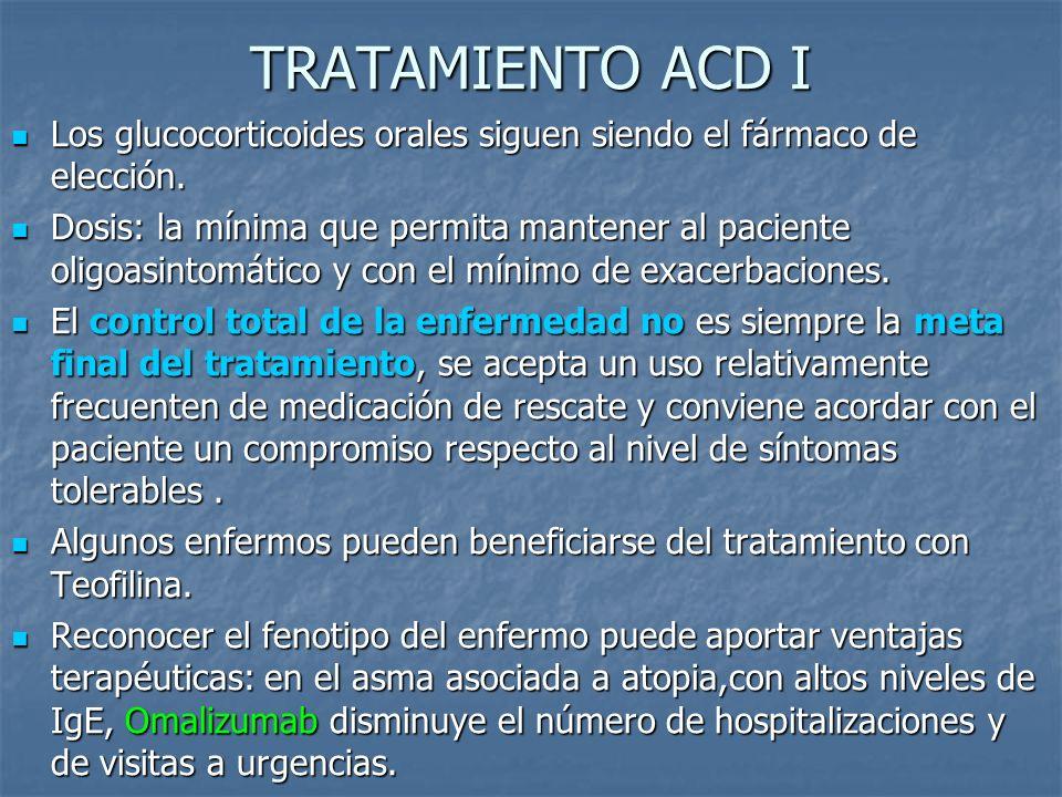 TRATAMIENTO ACD I Los glucocorticoides orales siguen siendo el fármaco de elección.