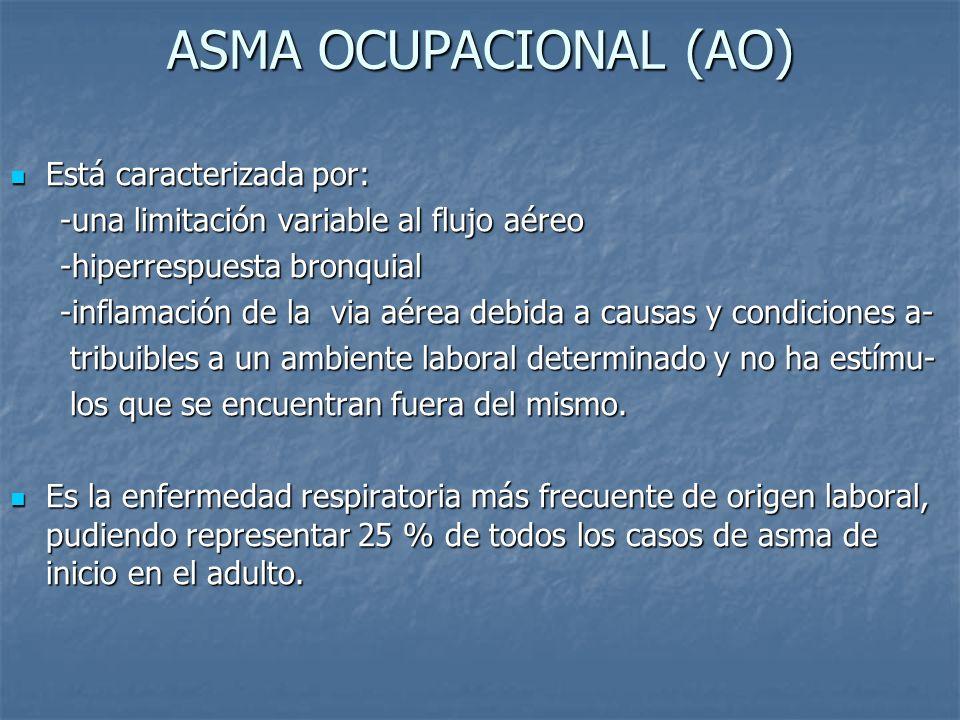 ASMA OCUPACIONAL (AO) Está caracterizada por: