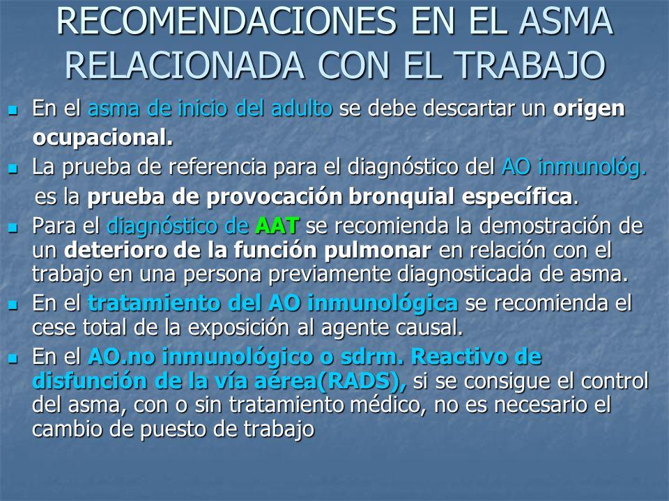 RECOMENDACIONES EN EL ASMA RELACIONADA CON EL TRABAJO