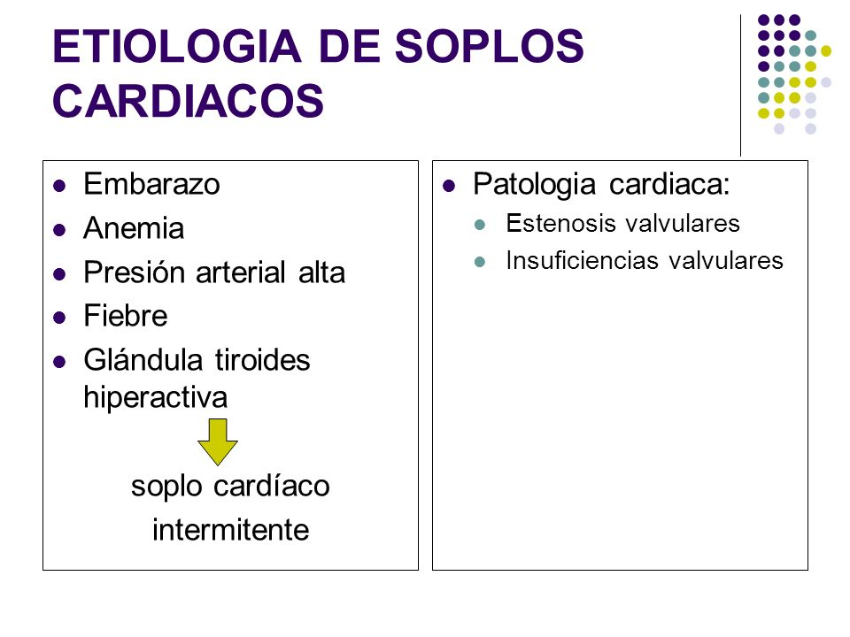 ETIOLOGIA DE SOPLOS CARDIACOS