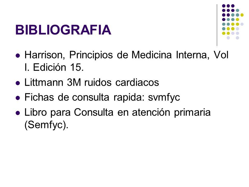 BIBLIOGRAFIA Harrison, Principios de Medicina Interna, Vol I. Edición 15. Littmann 3M ruidos cardiacos.