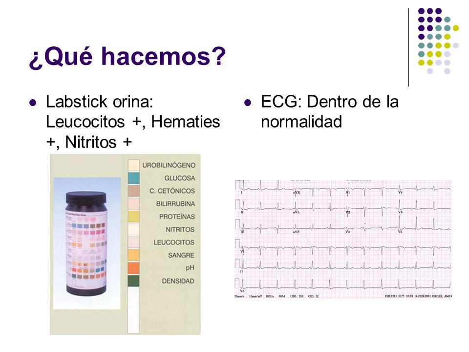 ¿Qué hacemos Labstick orina: Leucocitos +, Hematies +, Nitritos +