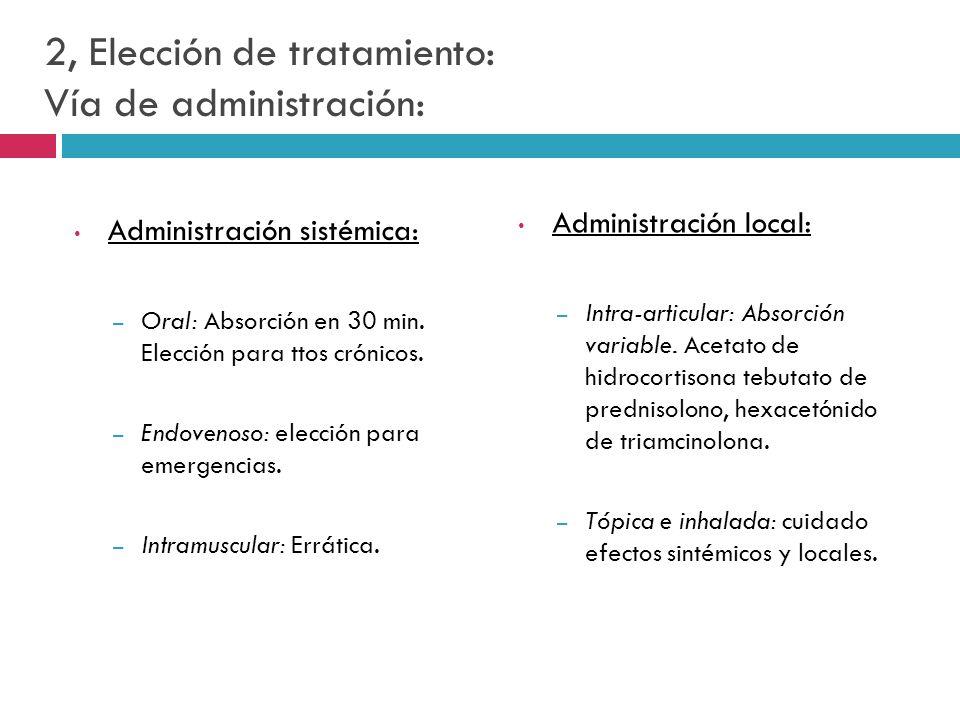 2, Elección de tratamiento: Vía de administración: