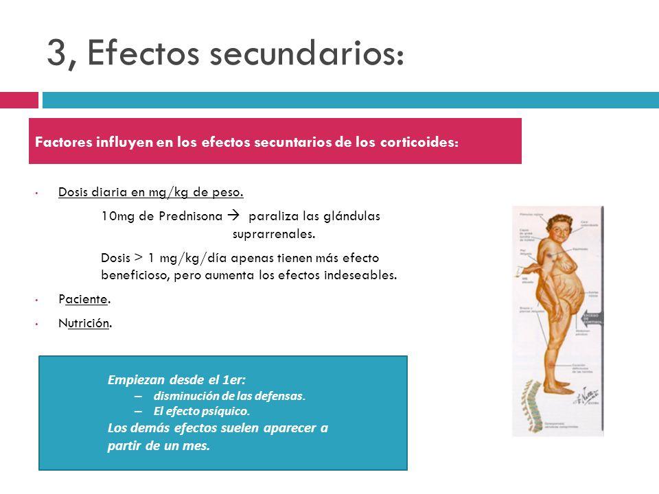 3, Efectos secundarios: Factores influyen en los efectos secuntarios de los corticoides: Dosis diaria en mg/kg de peso.