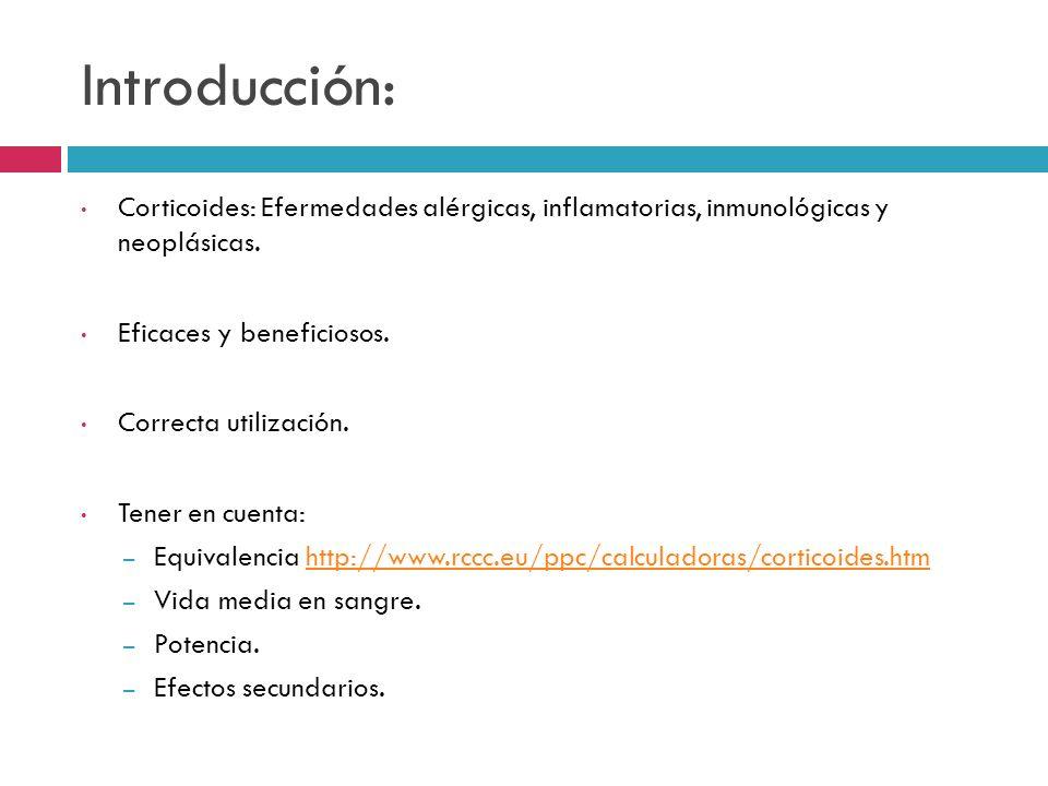 Introducción: Corticoides: Efermedades alérgicas, inflamatorias, inmunológicas y neoplásicas. Eficaces y beneficiosos.