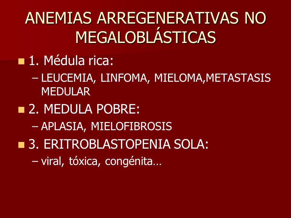 ANEMIAS ARREGENERATIVAS NO MEGALOBLÁSTICAS