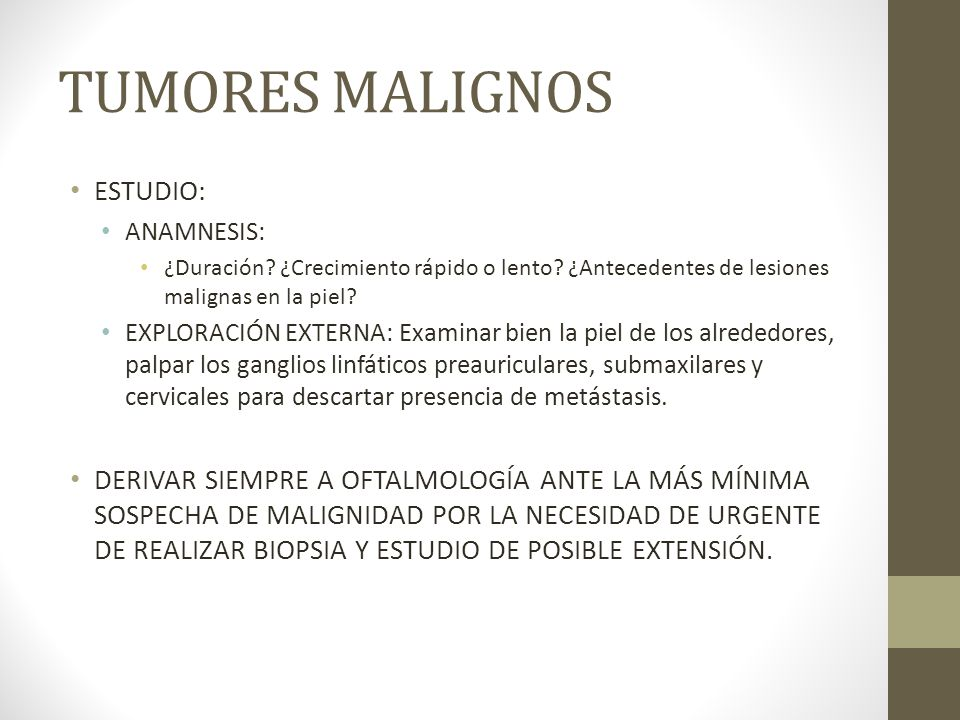 TUMORES MALIGNOS ESTUDIO: