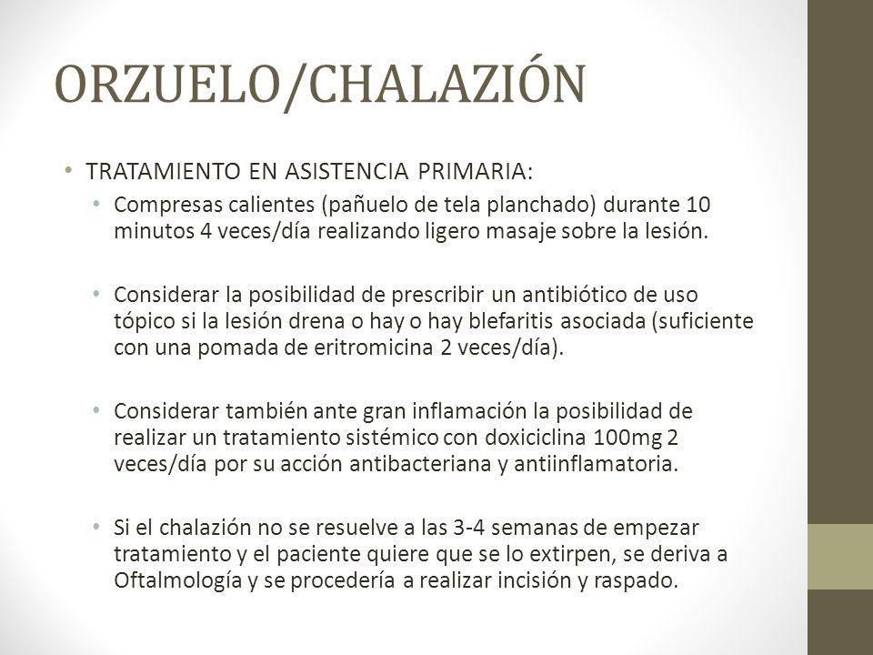 ORZUELO/CHALAZIÓN TRATAMIENTO EN ASISTENCIA PRIMARIA: