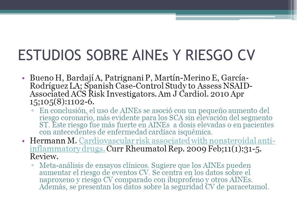 ESTUDIOS SOBRE AINEs Y RIESGO CV