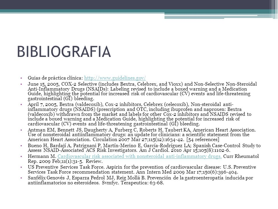 BIBLIOGRAFIA Guias de práctica clínica: http://www.guidelines.gov/