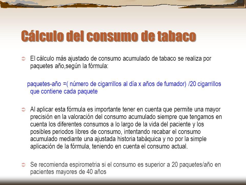 Cálculo del consumo de tabaco