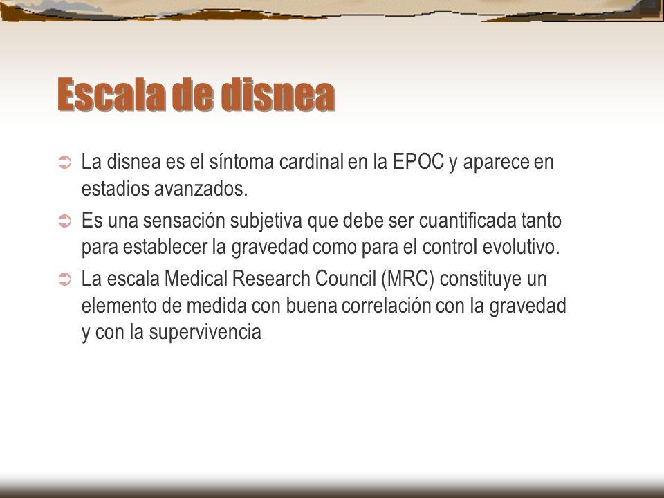 Escala de disnea La disnea es el síntoma cardinal en la EPOC y aparece en estadios avanzados.