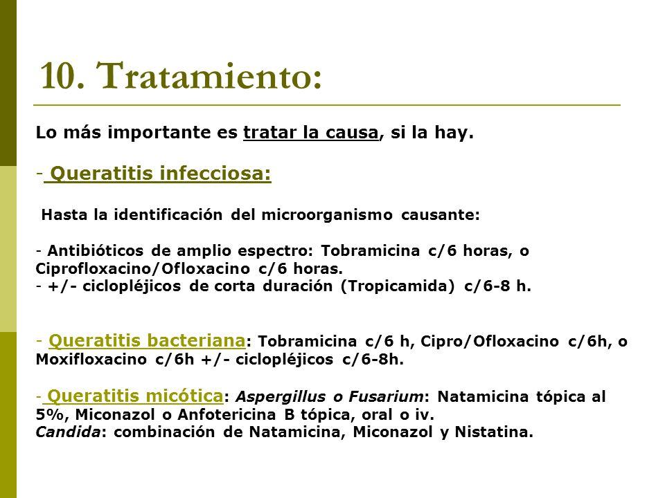 10. Tratamiento: Queratitis infecciosa: