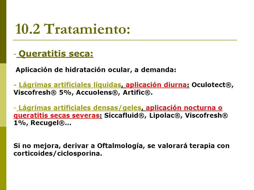 10.2 Tratamiento: Queratitis seca: