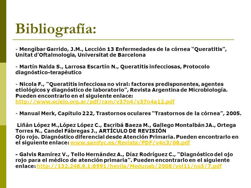 Bibliografía: Mengíbar Garrido, J.M., Lección 13 Enfermedades de la córnea Queratitis , Unitat d'Oftalmologia, Universitat de Barcelona.