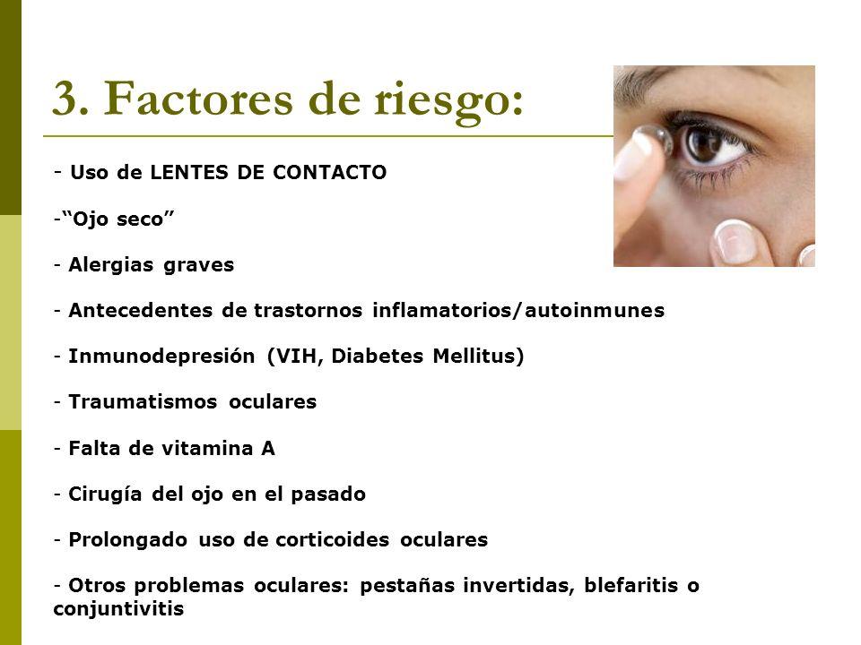 3. Factores de riesgo: Uso de LENTES DE CONTACTO Ojo seco