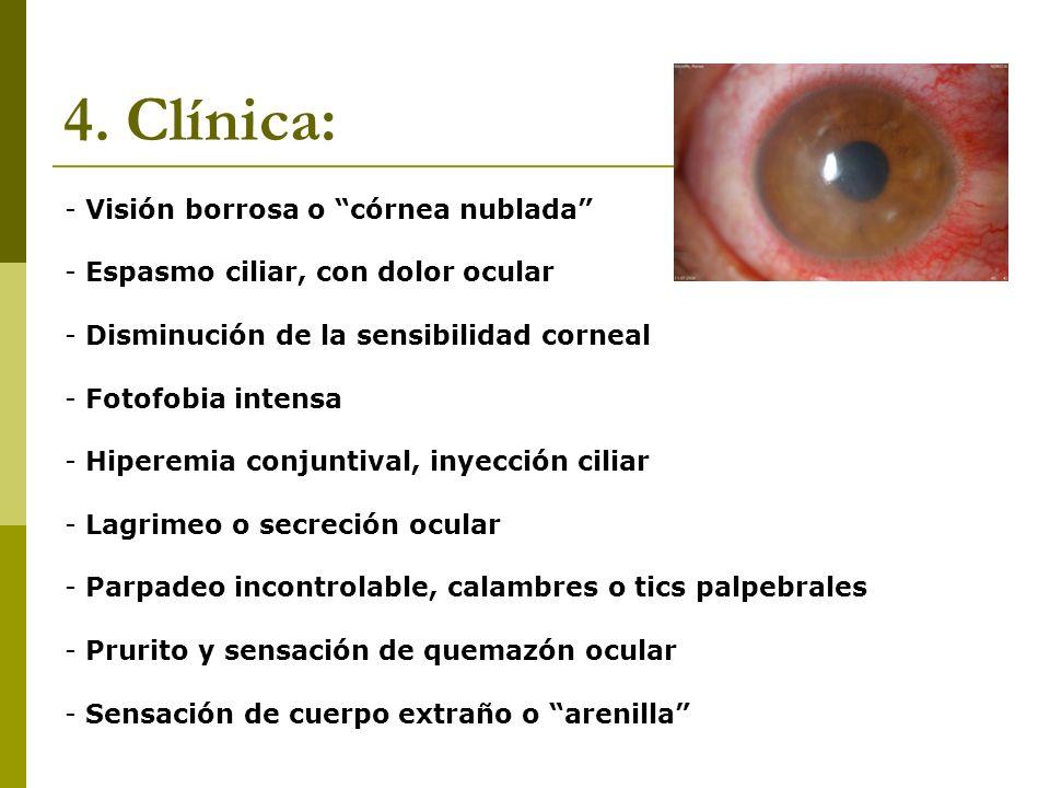 4. Clínica: Visión borrosa o córnea nublada