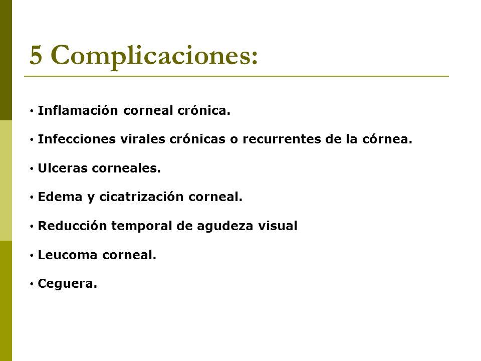 5 Complicaciones: Inflamación corneal crónica.