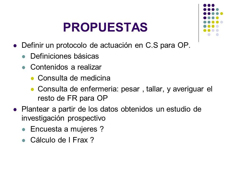 PROPUESTAS Definir un protocolo de actuación en C.S para OP.