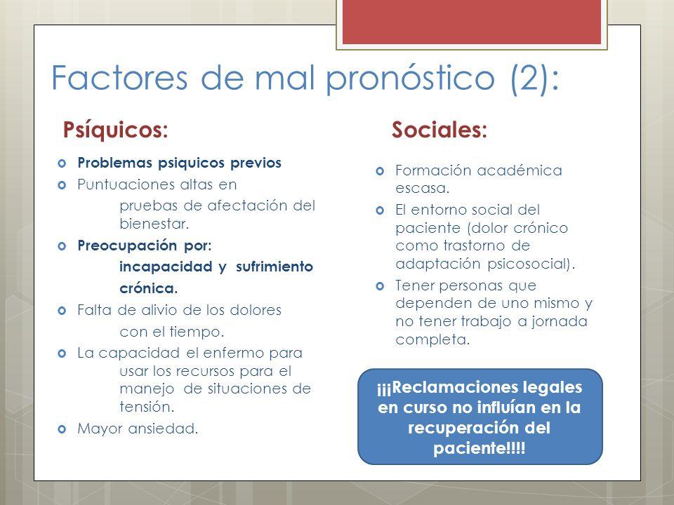 Factores de mal pronóstico (2):