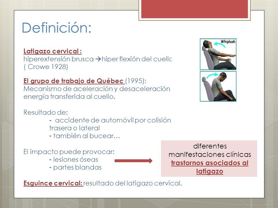 diferentes manifestaciones clínicas trastornos asociados al latigazo