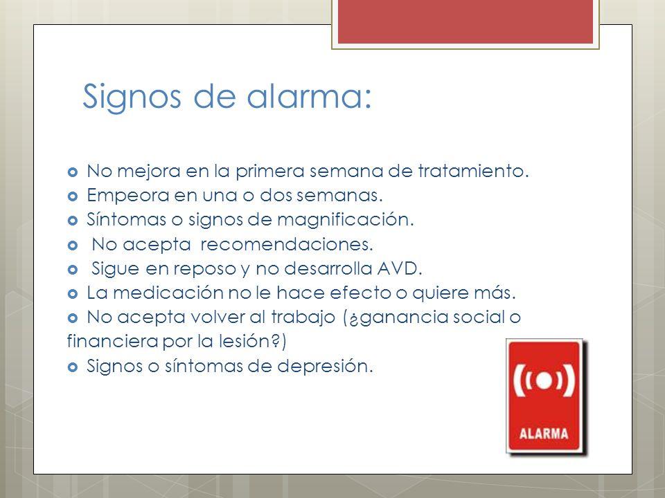 Signos de alarma: No mejora en la primera semana de tratamiento.