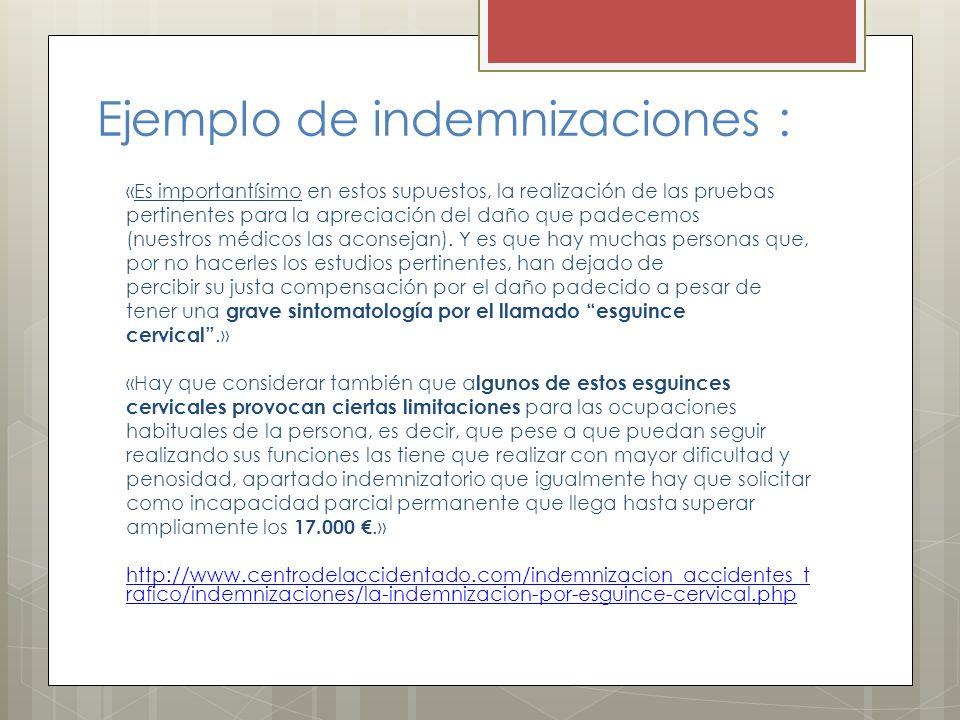 Ejemplo de indemnizaciones :