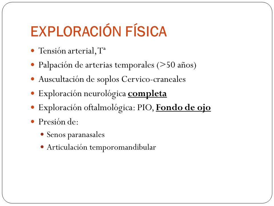 EXPLORACIÓN FÍSICA Tensión arterial, Tª