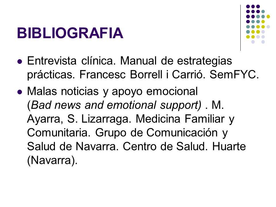 BIBLIOGRAFIA Entrevista clínica. Manual de estrategias prácticas. Francesc Borrell i Carrió. SemFYC.