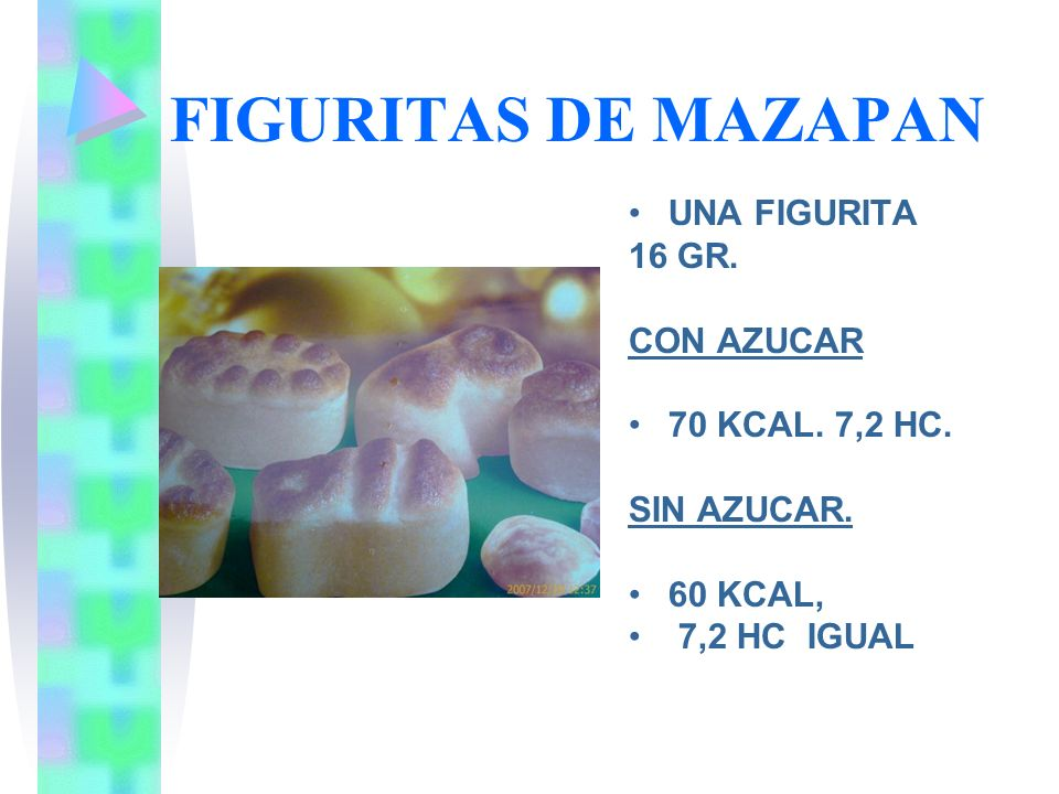 FIGURITAS DE MAZAPAN UNA FIGURITA 16 GR. CON AZUCAR 70 KCAL. 7,2 HC.