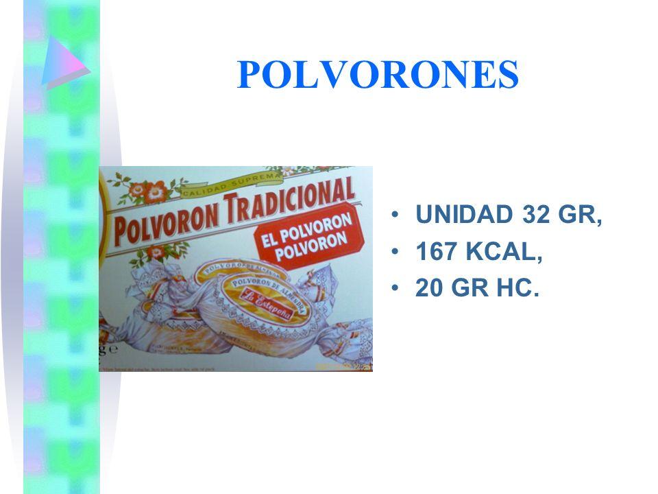 POLVORONES UNIDAD 32 GR, 167 KCAL, 20 GR HC.
