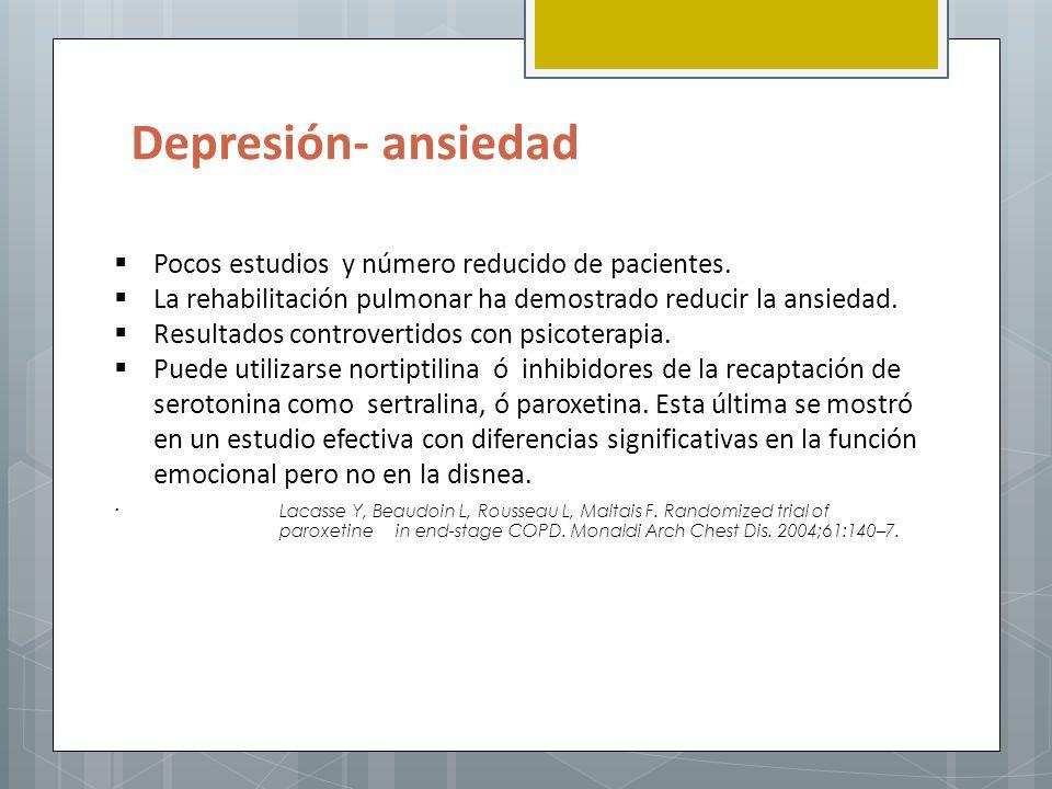 Depresión- ansiedad Pocos estudios y número reducido de pacientes.