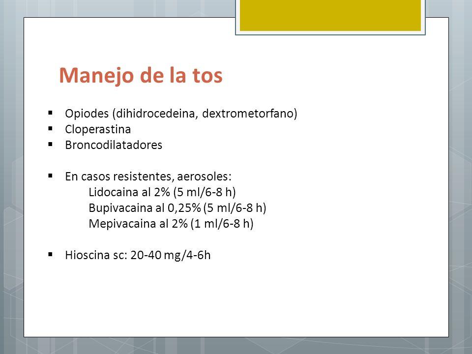 Manejo de la tos Opiodes (dihidrocedeina, dextrometorfano)