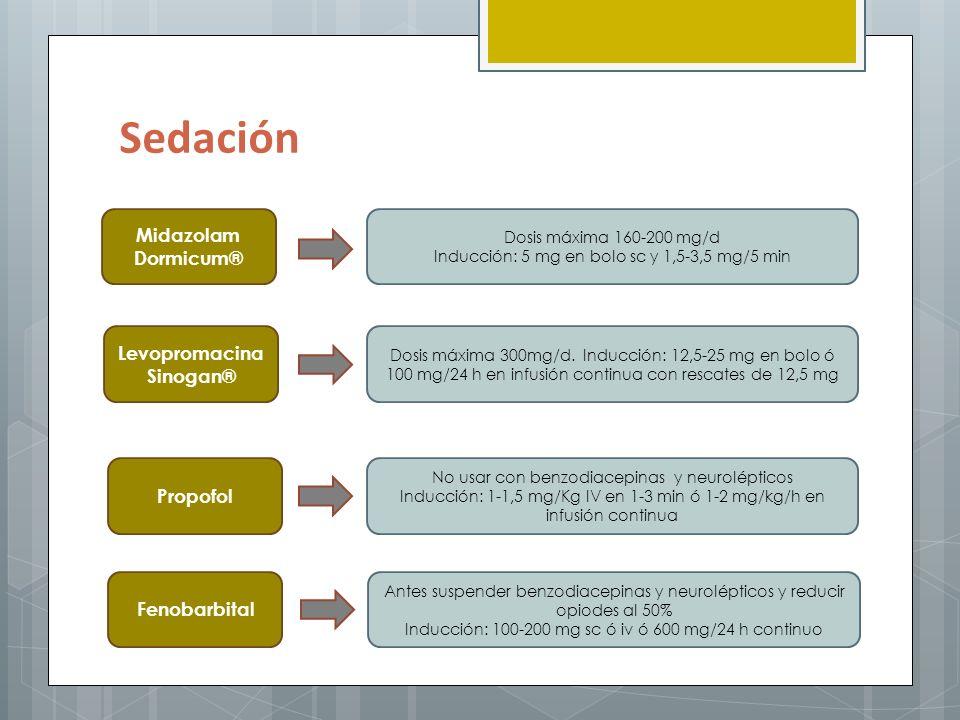 Sedación Midazolam Dormicum® Levopromacina Sinogan® Propofol
