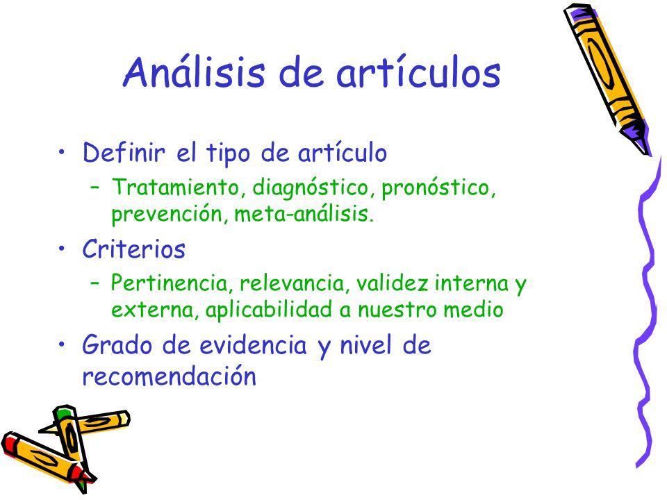 Análisis de artículos Definir el tipo de artículo Criterios