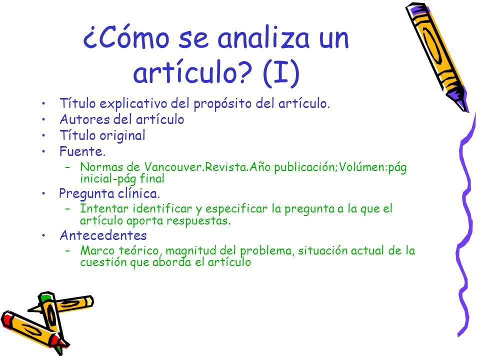 ¿Cómo se analiza un artículo (I)