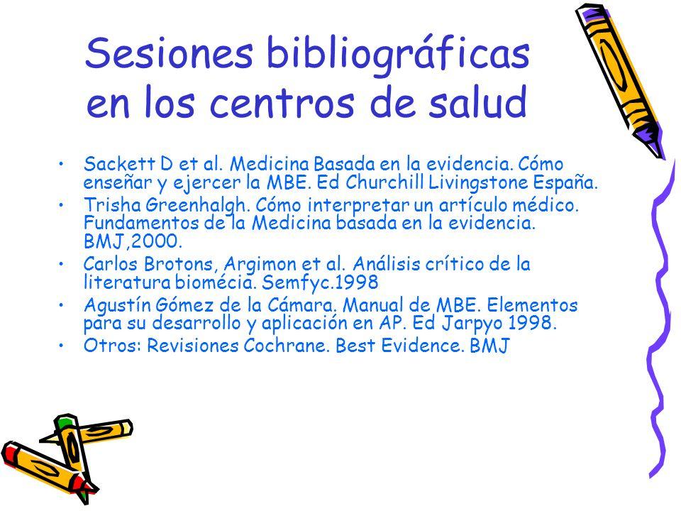 Sesiones bibliográficas en los centros de salud