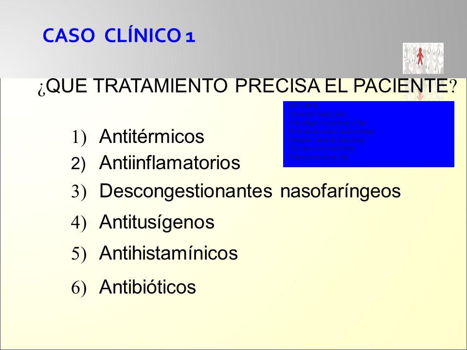 CASO CLÍNICO 1 ¿QUE TRATAMIENTO PRECISA EL PACIENTE Antitérmicos