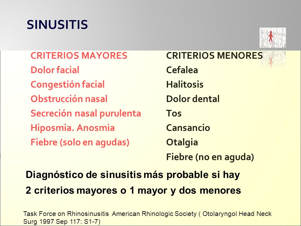 SINUSITIS CRITERIOS MAYORES Dolor facial Congestión facial