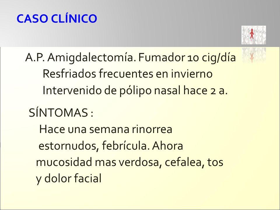 A.P. Amigdalectomía. Fumador 10 cig/día