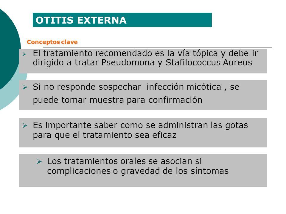 OTITIS EXTERNA Conceptos clave. El tratamiento recomendado es la vía tópica y debe ir dirigido a tratar Pseudomona y Stafilococcus Aureus.