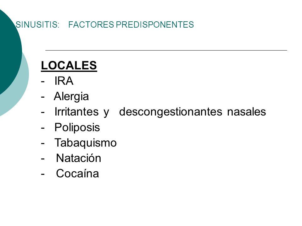 - Irritantes y descongestionantes nasales - Poliposis - Tabaquismo